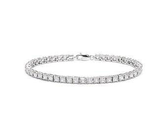 10.54 Ct Created Diamond Sterling Silver Tennis Bracelet 925 Gemstone Estate Statement Jewelry CZ Cubic Zirconia