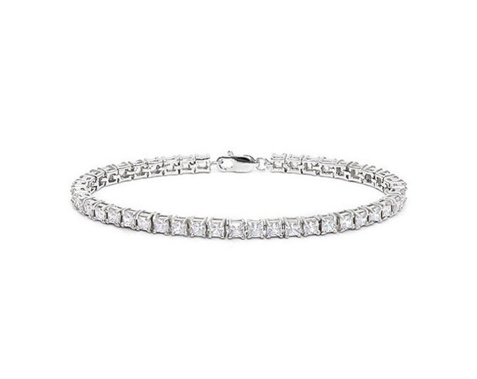 10.54 Ct CZ Cubic Zirconia Sterling Silver Tennis Bracelet 925 Gemstone Estate Statement Jewelry