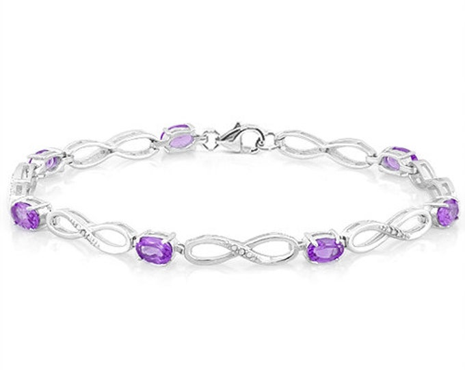 3.30 Ct Amethyst & Diamond Sterling Silver Bracelet 925 Gemstone Estate Statement Jewelry Gift Women Birthday
