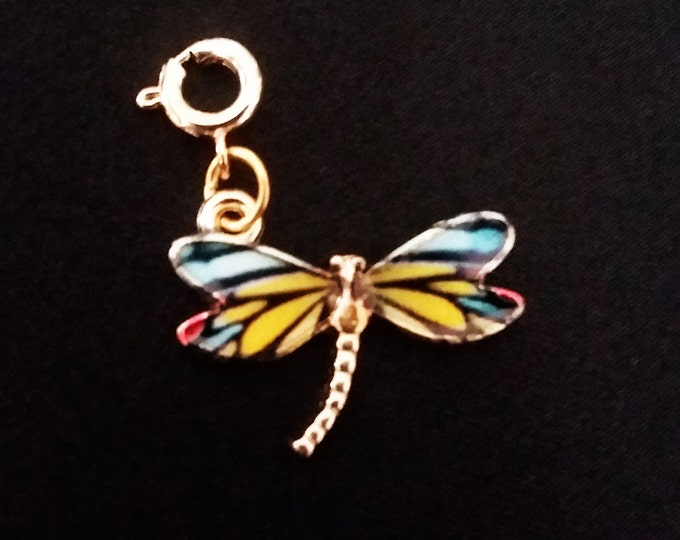 Dragonfly Charm Enamel Gold Plated Bracelet Charms Necklace Pendants Jewelry Supplies Craft Projects Earrings Earring