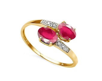 1.34 Ct African Ruby and Diamond 10Kt Solid Yellow Gold Ring Gemstone Rubies Statement Cocktail Ring Estate Jewelry Size 7