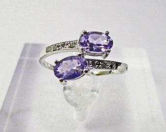 4/5 Ct Tanzanite & Diamond 10 Kt Solid White Gold Ring Gemstone Cocktail Statement Ring Estate Jewelry Size 7