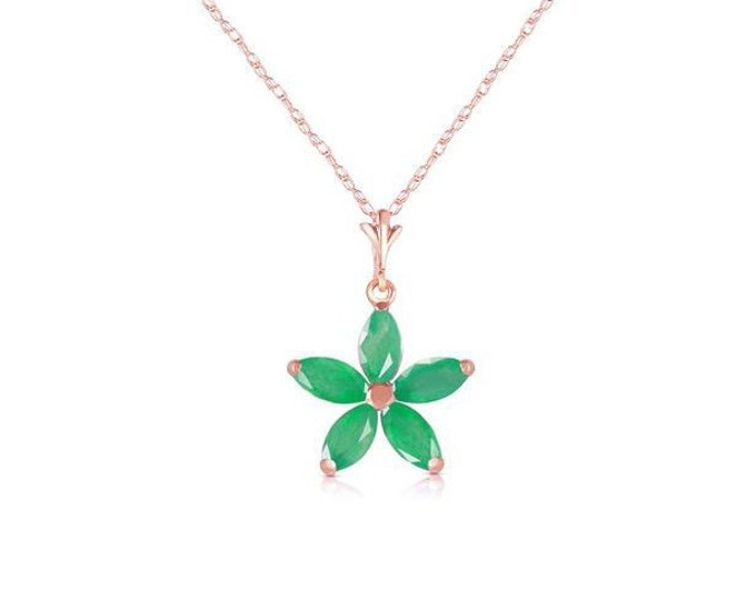 1.40 Carats Natural Emerald Flower Pendant with 14K Solid Yellow Gold Rope Chain Necklace – Emeralds Gemstone Estate Jewelry
