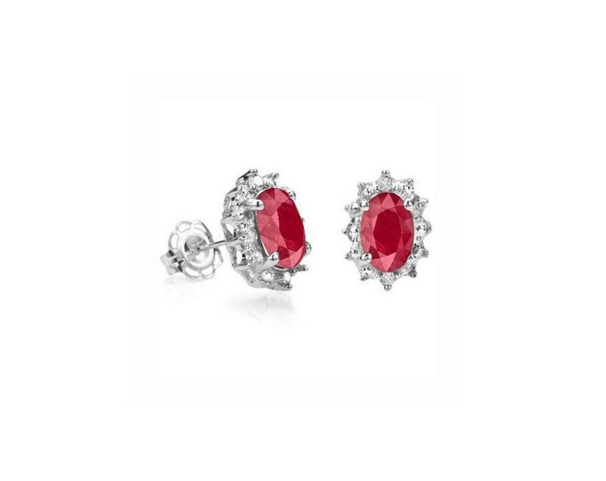 1 1/3 Ct African Ruby & Diamond Sterling Silver Stud Earrings – 925 Gemstone Estate Jewelry Earring