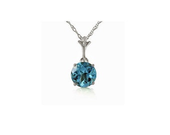 1.15 Ct Blue Topaz Pendant on a 14K Solid White Gold 18 inch Rope Chain Necklace Gemstone Estate Jewelry