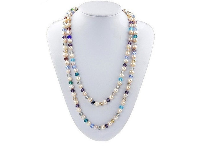 Dazzling Natural 9MM Pearl and Multi Color Crystal Necklace Hand Strung Freshwater Pearls Gift Women Birthday Mother Christmas Jewelry