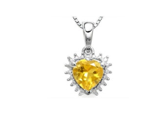 2/3 Ct Citrine and Diamond Heart Pendant 925 Sterling Silver Necklace Pendant (Necklace Chain is not Included)