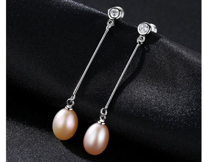 Freshwater Pearl & CZ Cubic Zirconia Earrings Sterling Silver - 925 Gemstone Estate Jewelry Drop - Dangle Earring Wedding Bride