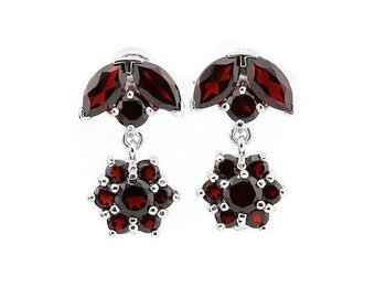 5.46 Ct Garnet Sterling Silver Earrings - 925 Gemstone Earring Estate Jewelry