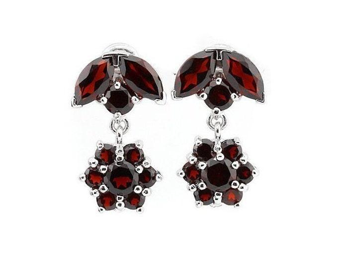 5.46 Ct Garnet Sterling Silver Earrings - 925 Gemstone Earring Estate Jewelry