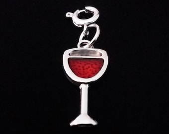 Enamel Wine Glass Charm Silver Tone Red Wine Goblet Bracelet Charms Necklace Pendant Jewelry Supplies Craft Projects Earrings Earring Charm