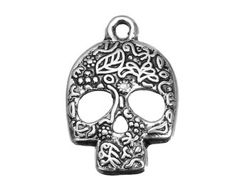 Bulk 5 Skull Charms Day of  the Dead Sugar Skull Bracelet Charm Antique Silver Necklace Pendant Jewelry Supplies Craft Earrings Earring