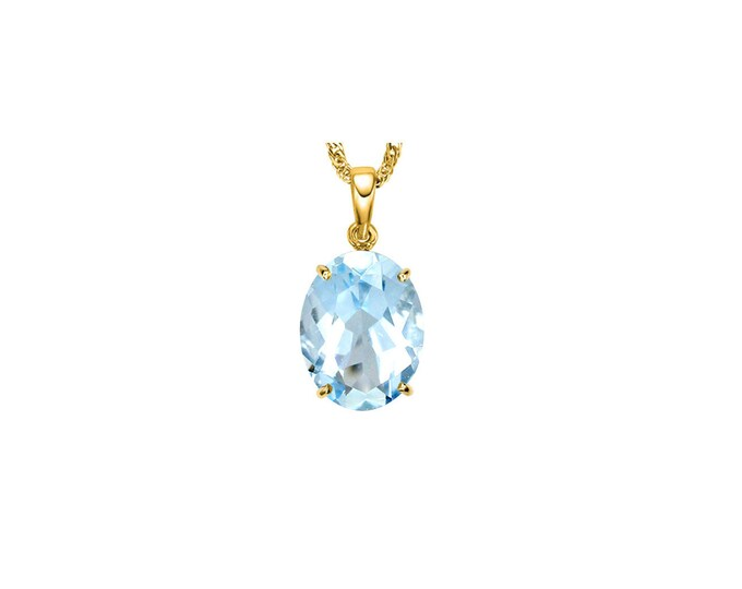 1/2 Carat Baby Swiss Blue Topaz 10K Solid Yellow Gold Necklace Pendant Jewelry (Necklace Chain not Included)