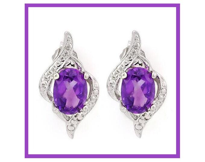 Elegant Amethyst 925 Sterling Silver Earrings - 1 2/5 Carat TW Floral Lavender Amethyst Gemstone Earring TG-Amethyst-925