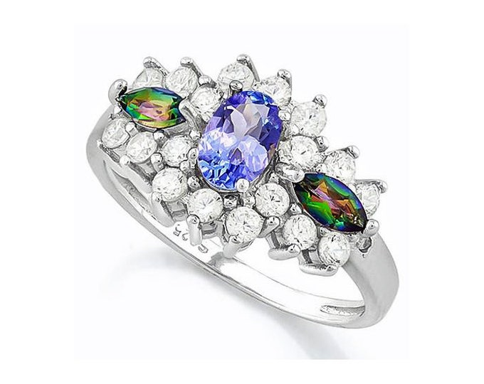 Dazzling .45 Ct Tanzanite and .24 Ct Green Mystic Topaz Gemstone 925 Sterling Silver Ring with Created White Sapphires & Genuine Diamonds