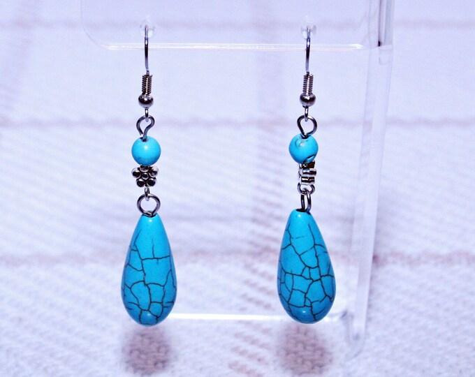 Turquoise Teardrop Dangle Earrings Boho Jewellery Fashion Jewelry Earring Gemstone Jewelry, December Birthstone French Hooks