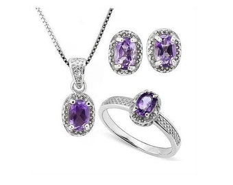 1 3/4 Ct Amethyst & Diamond Ring, Pendant Necklace and Earring Sterling Silver Set 925 Estate Jewelry Earrings