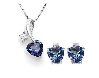 3.1 Ct Mystic Topaz & White Topaz Pendant Necklace and Earring Sterling Silver Set 925 Estate Jewelry Earrings