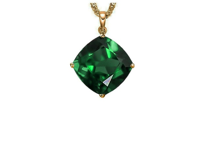 Beautiful 3.90 Ct Russian Emerald 14K Gold Pendant Cushion Cut on a 14K Solid Yellow Gold Rope Chain Necklace Gemstone Estate Jewelry