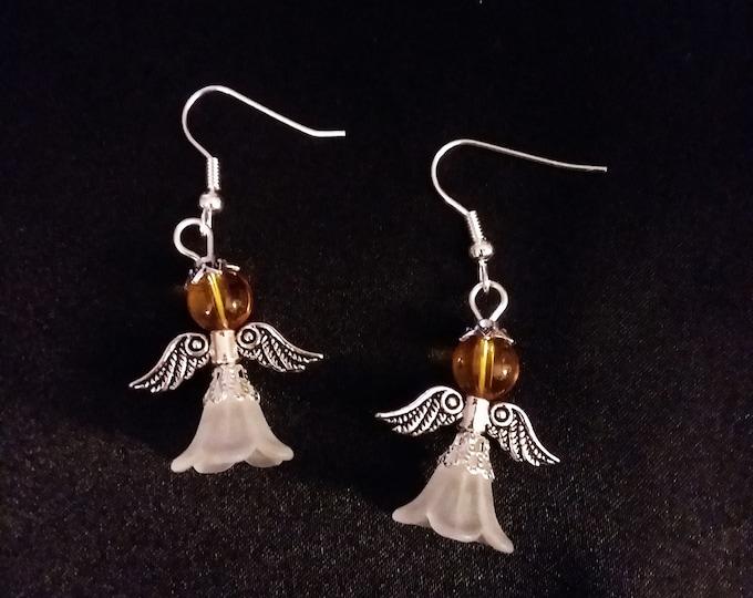 Set of Amber Gold Guardian Angel Earrings  Angel Charm Earring Drop Dangle Jewelry French Hook Style Ear Wires Golden