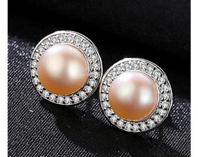 Natural Freshwater Pink Pearl & Created Diamond Earrings Sterling Silver - 925 Gemstone Estate Jewelry Stud Earring Wedding Bride