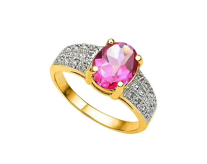 2.09 Ct Imperial Red Topaz & Diamond 10 Kt Solid Yellow Gold Ring – Cocktail Ring – Statement Ring - Estate Jewelry Size 7