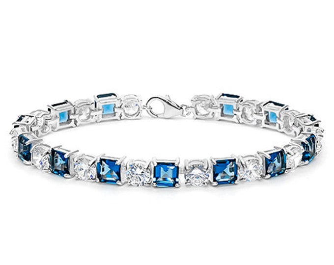 Created London Blue Topaz and Diamond Bracelet Sterling Silver Tennis Bracelet 925 Gemstone Estate Statement Jewelry Gift Women Birthday
