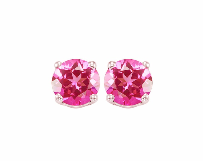 2 Ct Imperial Pink Topaz 10K Solid White Gold Stud Earrings Round Cut – Gemstone Estate Jewelry