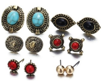 6 Earring Sets of Fashion Earrings in 18K Gold Plated German Silver Boho Style