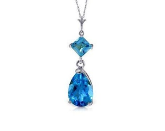 2 Ct Blue Topaz Pendant on an 18 Inch 14 Kt Solid White Gold Rope Chain Necklace Gemstone Estate Jewelry
