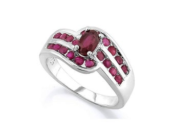 1.31 Ct Ruby 925 Sterling Silver Ring Estate Jewelry Statement Cocktail Engagement Ring Size 7