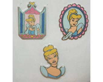 Disney Princess Cinderella Cloisonne Enamel Metal Charms Peel and Stick Stickers Scrapbook Craft Project Crafting Projects Charm