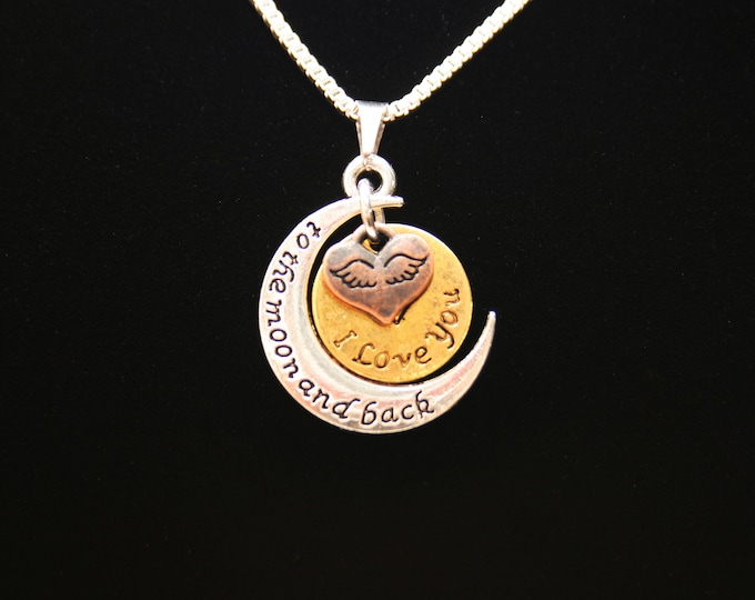 I Love You to the Moon and Back Pendant Necklace 16 or 18 Inch Sterling Silver Plated Box Chain