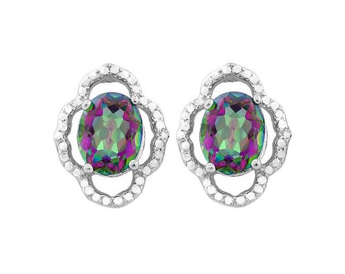 3 3/5 Ct Mystic Topaz Gemstone Earrings 925 Sterling Silver Magical Rainbow Mystic Stud Earring - TG-MTG02-925