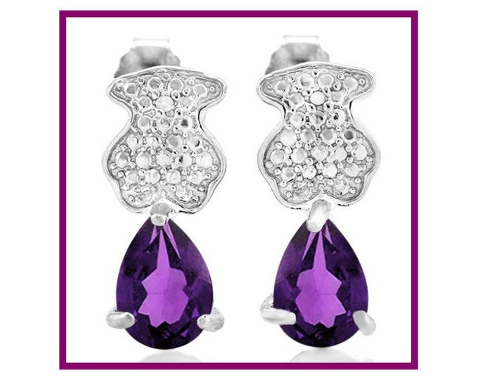 1 1/5 Ct Genuine Floral Lavender Amethyst 925 Sterling Silver Earrings – Stud Post Back Earring TG-Am08-925