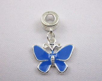 Blue Enamel Butterfly Charm European Style Large Hole Dangle Beads Silver Plated Bracelet Beads Necklace Jewelry Bead Charms Craft Supplies