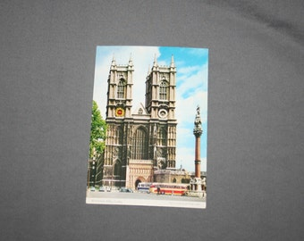 Vintage WESTMINSTER ABBEY London Postcard Unused Photochrome Postcards 1960's Post Card Souvenir Great Britain England KARDORAMA