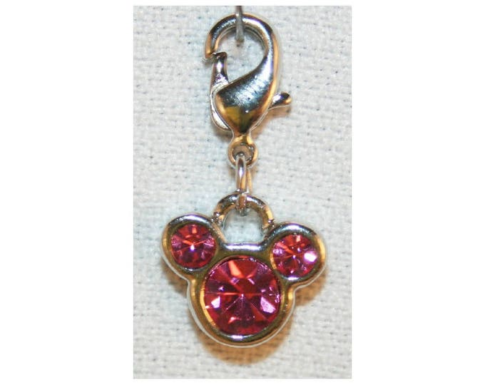 Disney Mickey Mouse Icon Charm Pink Glass Stones Bracelet Charms Necklace Earring Charm DIY Jewelry or Craft Supplies