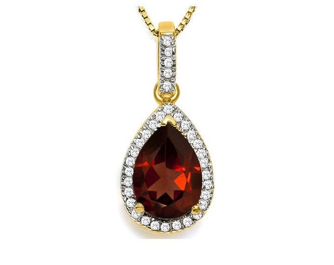Gorgeous 3 1/4 TCW Garnet Pendant with 1/5 Ct Diamond and Earring Set on 18 inch Box Chain Necklace 14Kt Gold & Sterling Silver Jewelry Set