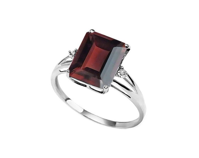 3 Ct Garnet & Diamond 14K Solid White Gold Ring – Gemstone Estate Jewelry Statement Ring Cocktail Ring Size 7
