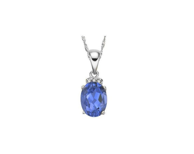 1.14 Carat Tanzanite and Diamond 10Kt Solid White Gold Necklace Pendant Jewelry