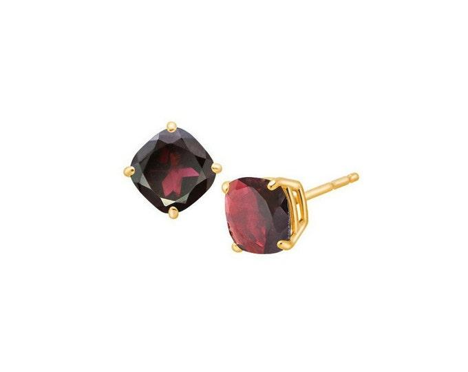 2.60 Ct Red Garnet 14K Solid Yellow Gold Stud Earrings Cushion Cut – Gemstone Estate Jewelry