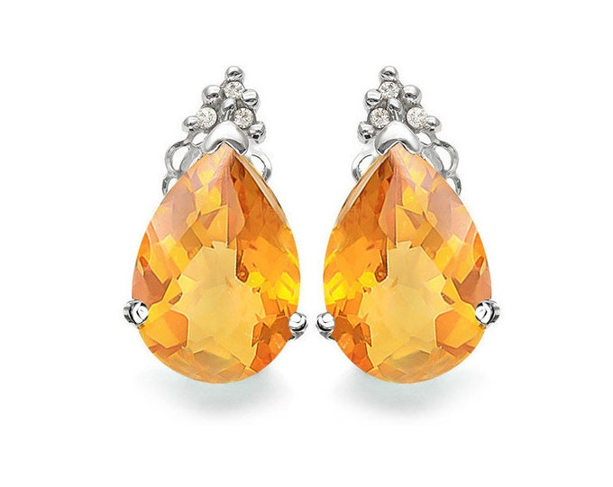 3.4 Carat Dark Citrine and Diamond 10K White Gold Stud Earrings – Pear Cut Citrine Gemstone Estate Jewelry
