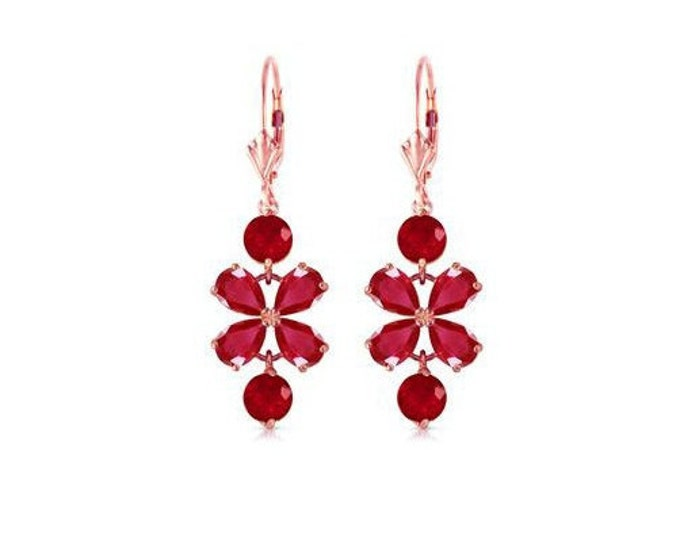 5.32 Ct Natural Ruby 14K Solid Rose Gold Chandelier Earrings – Rubies Gemstone Estate Jewelry