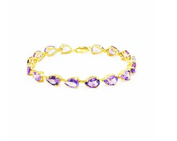 20.08 Ct Amethyst Sterling Silver Bracelet 925 Gemstone Estate Statement Jewelry Purple Lavender Gold Tone