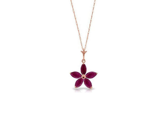 1.4 Ct Natural Ruby Star Pendant and 14K Solid Rose Gold Necklace - Gemstone Rubies Estate Jewelry - 18 inch Rope Chain