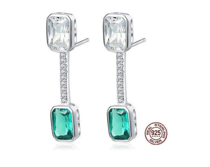 Created Emerald and White Topaz Earrings Stud Post 925 Sterling Silver Gemstone Estate Jewelry Dangle Drop Earring Gift Women Birthday