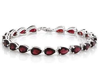 16.53 Ct Garnet Sterling Silver Bracelet 925 Gemstone Estate Statement Jewelry  Pear Cut Tennis Bracelet Gift Women Birthday