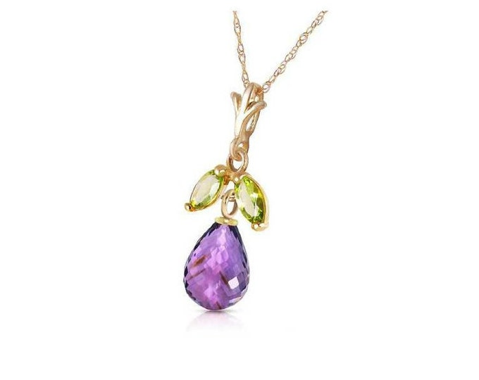 1.5 Ct Purple Amethyst Briolette & 0.2 Ct Peridot Pendant on a 14Kt Solid Yellow Gold Rope Chain Gemstone Estate Jewelry