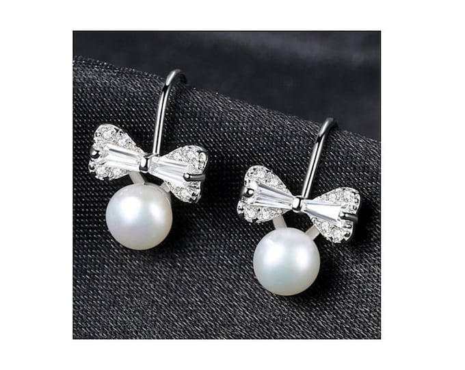 Freshwater Pearl & CZ Cubic Zirconia Bow Tie Earrings Sterling Silver - 925 Gemstone Estate Jewelry Drop - Dangle Earring Wedding Bride